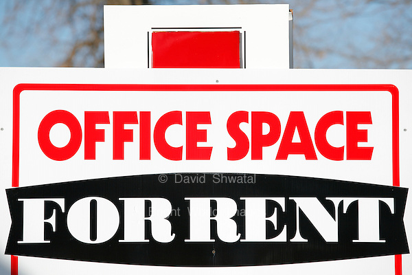 Red White and Black Office Space For Rent Sign