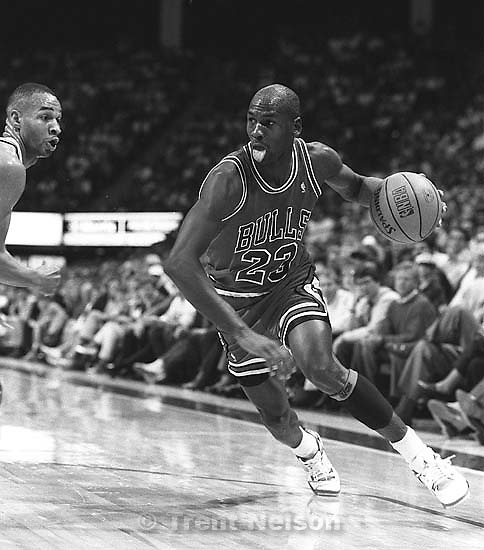 Michael Jordan at Jazz vs. Chicago basketball.<br />