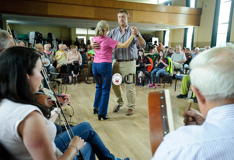 Dancers step it out at the Frank Custy session on Thursday at the Holy Family National School during Fleadh Cheoil na hEireann in Ennis. Photograph by John Kelly.