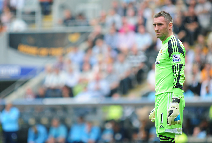Hull City's Allan McGregor<br /> <br />  (Photo by Chris Vaughan/CameraSport) <br /> <br /> Football - Barclays Premiership - Hull City v Norwich City - Saturday 24th August 2013 - Kingston Communications Stadium - Hull<br /> <br /> &copy; CameraSport - 43 Linden Ave. Countesthorpe. Leicester. England. LE8 5PG - Tel: +44 (0) 116 277 4147 - admin@camerasport.com - www.camerasport.com