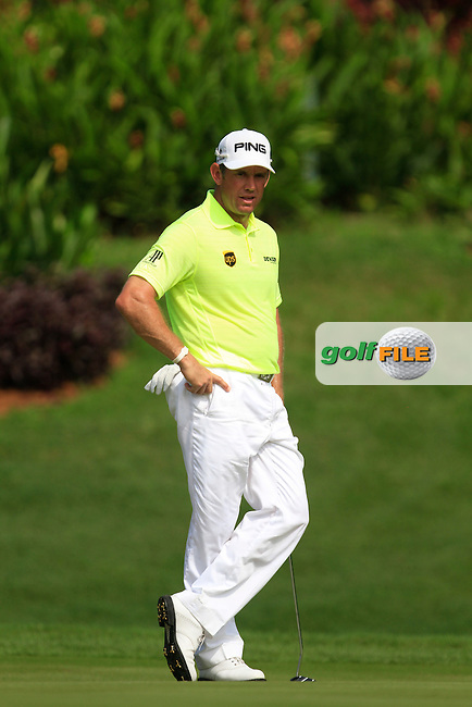 Lee Westwood (ENG) on the 6th green during Round 4 of the CIMB Classic in the Kuala Lumpur Golf &amp; Country Club on Sunday 2nd November 2014.<br /> Picture:  Thos Caffrey / www.golffile.ie