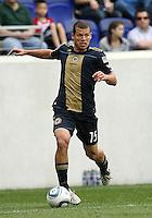 Alejandro Moreno #15 of the Philadelphia Union moves into the attack during a MLS match against the New York RedBulls on April 24 2010, at RedBulll Arena, in Harrison, New Jersey.RedBulls won 2-1.