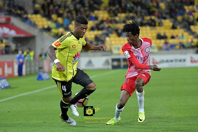 Wellington Phoenix&rsquo;  Rolieny Bonevacia and Melbourne City FC's Bruce Kamau in action during the A League - Wellington Phoenix v Melbourne City FC at Westpac Stadium, Wellington, New Zealand on Saturday 8 October 2016.<br /> Photo by Masanori Udagawa. <br /> www.photowellington.photoshelter.com.