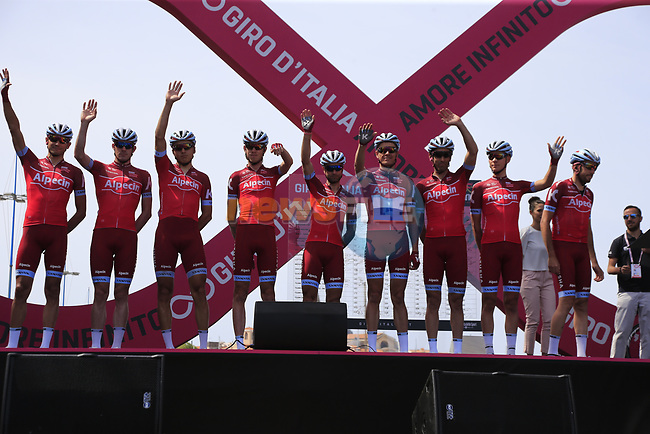 Team Katusha Alpecin at sign on before Stage 1 of the 100th edition of the Giro d'Italia 2017, running 206km from Alghero to Olbia, Sardinia, Italy. 4th May 2017.<br /> Picture: Eoin Clarke | Cyclefile<br /> <br /> <br /> All photos usage must carry mandatory copyright credit (&copy; Cyclefile | Eoin Clarke)