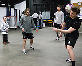 Kevin Rich (PC - 17), Stefan Demopoulos (PC - 12), Mark Jankowski (PC - 10), Trevor Mingoia (PC - 9) - The Providence College Friars warmed up prior to the Frozen Four final at TD Garden on Saturday, April 11, 2015, in Boston, Massachusetts.