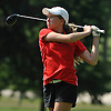 Sam Klee of Smithtown East tees off on the 18th Hole of Bethpage State Park's Green Course during the varsity girls' golf Long Island team championship against Syosset on Wednesday, June 3, 2015.<br /> <br /> James Escher