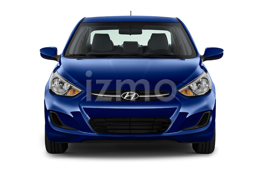 Car photography straight front view of a 2016 Hyundai Accent SE 4-Door 6-Speed Automatic 4 Door Sedan Front View