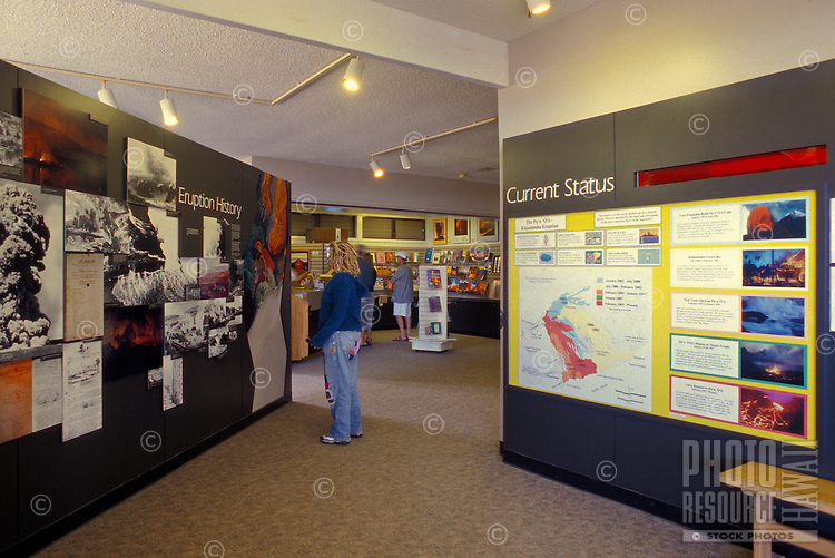 Tourists view the exhibits at the Thomas A. Jager Museum at Halemaumau Crater within the Hawaii Volcanoes National Park on the Big Island.  The museum's exhibits include eruption history and legend exhibits