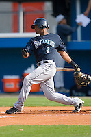 Dwight Britton #3 of the Pulaski Mariners follows through on his swing versus the Burlington Royals at Burlington Athletic Park August 4, 2009 in Burlington, North Carolina. (Photo by Brian Westerholt / Four Seam Images)