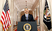United States President Barack Obama speaks in the East Room of the White House in Washington, Thursday, June 28, 2012, following the U.S. Supreme Court decision on his health care legislation. .Credit: Luke Sharrett / Pool via CNP