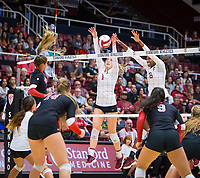 STANFORD, CA - November 4, 2018: Jenna Gray, Tami Alade at Maples Pavilion. No. 2 Stanford Cardinal defeated the Utah Utes 3-0.