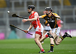 Sean Moran of Cuala in action against Pearse Lillis of Ballyea during the All-Ireland Club Hurling Final at Croke Park. Photograph by John Kelly.