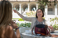 Sharla Fett, Associate Professor, History. Incoming first years meet with their faculty advisors during the Major Information Sessions & Advising part of Orientation in the Academic Quad, Aug. 24, 2015.<br /> (Photo by Marc Campos, Occidental College Photographer)