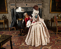 BNPS.co.uk (01202 558833)<br /> Pic: PhilYeomans/BNPS<br /> <br /> Dressed to Impress - Mary Curzon's enormous 17th century dress is recreated alongside Richard Sackville, 3rd Earl of Dorset.<br /> <br /> Wasted Paper...This might be the only chance history fans get to see the incredible paper creations that tell the story of one of Britain's most historic homes, as the National Trust becomes the latest victim of coronavirus.<br /> <br /> 'Fashioned from Paper' had only just opened at Knole House near Sevenoaks before the National Trust annouced the closure of the historic Kent property from today.<br /> <br /> Now Artist Denise Watson's intricate creations may never be seen as know one knows when the historic home will reopen.<br /> <br /> Denise had taken inspiration from the valuable collection of portrait paintings bought up by the aristocratic Sackville-West family over the stately homes 600 year history.<br /> <br /> The enormous building, one of the largest houses in Britain, was once owned by Archbishop Thomas Cranmer before Henry VIII th covetous gaze forced him to hand it over to the acquisitive monarch in the mid 16th century.<br /> <br /> Elizabeth I later gifted Knole to Thomas Sackville, 1st Earl of Dorset, and the Sackville-West's still inhabit part of the property to this day.