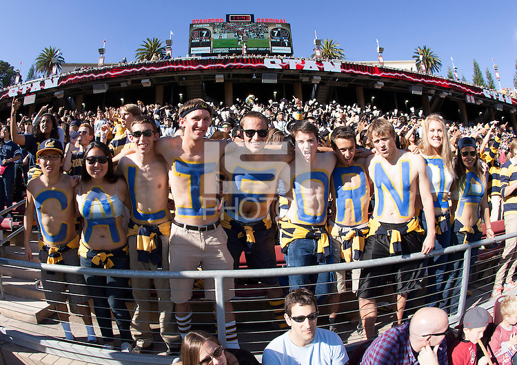 California Fans are pictured with C-A-L-I-F-O-R-N-I-A letters painted on their chests before the game against Stanford at Stanford Stadium in Palo Alto, California on November 23rd, 2013.  Stanford defeated California, 63-13.