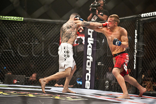 24.06.2011, Washinton, USA.   Caros Fodor, left, squared off in the cage against James Terry during the STRIKEFORCE Challengers at the ShoWare Center in Kent, Washington. Fodor, a Washington native, won the fight in a unanimous decision.