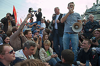 Moscow, Russia, 06/05/2012..Opposition leaders Boris Nemtsov, Yevgenia Chirikova & Alexei Navalny lead sit-down to block road at demonstration against Russian Presidential election results on the eve of Vladimir Putins inauguration as President.