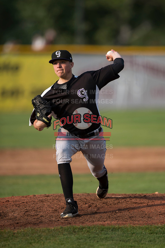 Grand Junction Rockies starting pitcher Ryan Rolison (24) delivers a pitch during a Pioneer League game against the Missoula Osprey at Ogren Park Allegiance Field on August 21, 2018 in Missoula, Montana. The Missoula Osprey defeated the Grand Junction Rockies by a score of 2-1. (Zachary Lucy/Four Seam Images)