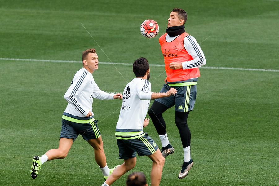 Melbourne, 14 July 2015 - Cristiano Ronaldo at an open training session of Real Madrid before their match against AS Roma at the 2015 International Champions Cup in Melbourne, Australia. Photo Sydney Low/AsteriskImages.com