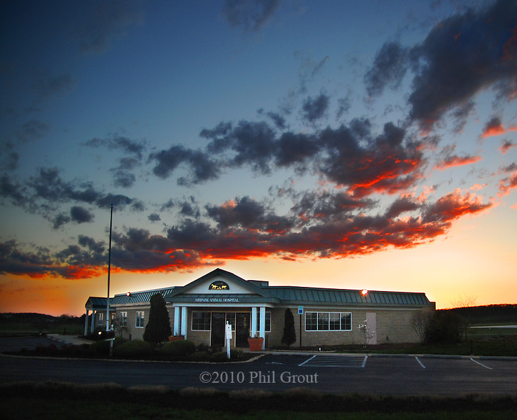 Photo by Phil Grout..A glowing sunset marks the end of another day at the Airpark.Animal Hospital in Westminster.