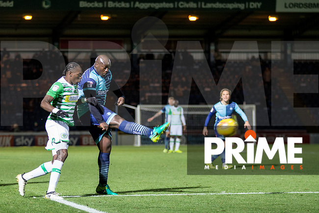 Adebayo Akinfenwa of Wycombe Wanderers hits the crossbar in injury time during the Sky Bet League 2 match between Wycombe Wanderers and Yeovil Town at Adams Park, High Wycombe, England on 25 November 2017. Photo by Andy Rowland.