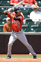 Outfielder David Paiz #10 of the Texas Tech Red Raiders at bat against the Texas Longhorns on April 17, 2011 at UFCU Disch-Falk Field in Austin, Texas. (Photo by Andrew Woolley / Four Seam Images)
