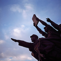 Statues of People's Liberation Army soldiers stand in Shenyang, the capital and largest city of Liaoning Province in Northeast China, in June, 2011.