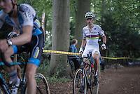 Wout Van Aert (BEL/Crelan-Vastgoedservice) stretching mid-race while keeping Michael Vanthourenhout's (BEL/Marlux-NapoleonGames) wheel<br /> <br /> Brico-cross Geraardsbergen 2016