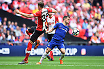 Eden Hazard of Chelsea is challenged by Jan Bednarek of Southampton during the FA cup semi-final match at Wembley Stadium, London. Picture date 22nd April, 2018. Picture credit should read: Robin Parker/Sportimage