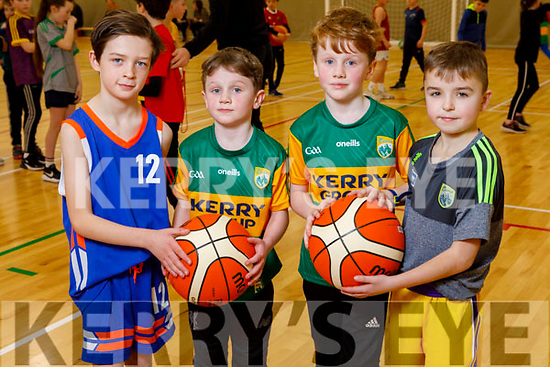 Ollie O'Shea (Scartaglin), Fionnan and Darragh Burke (Milltown) and Jack O'Shea from Farranfore enjoying the Basketball workshop  at the Kerry Sports Academy Open Day at the I T Tralee on Saturday