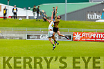 Kerry's Tómas 0'Connor and Sean Cleary of Offaly having a mid air battle in the Joe McDonagh Cup relegation game in Tralee on Saturday.