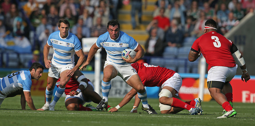 Argentina's Agustin Creevy<br /> <br /> Photographer Stephen White/CameraSport<br /> <br /> Rugby Union - 2015 Rugby World Cup Pool C - Argentina v Tonga - Sunday 4th October 2015 - King Power Stadium - Leicester <br /> <br /> &copy; CameraSport - 43 Linden Ave. Countesthorpe. Leicester. England. LE8 5PG - Tel: +44 (0) 116 277 4147 - admin@camerasport.com - www.camerasport.com