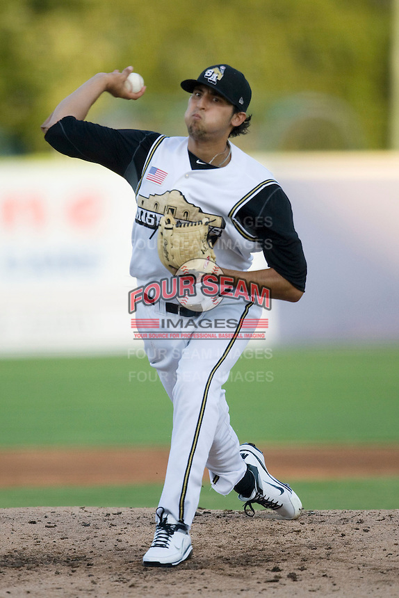San Antonio Missions pitcher Jorge Reyes #7 delivers at the Texas League All Star Game played on June 29, 2011 at Nelson Wolff Stadium in San Antonio, Texas. The South All Star team defeated the North All Star team 3-2. (Andrew Woolley / Four Seam Images)