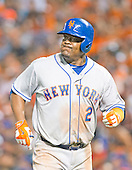 New York Mets third baseman Juan Uribe (2) reacts after grounding out in the eighth inning against the Baltimore Orioles at Oriole Park at Camden Yards in Baltimore, Maryland on Wednesday, August 19, 2015.  The Orioles won the game 5 - 4.<br /> Credit: Ron Sachs / CNP<br /> (RESTRICTION: NO New York or New Jersey Newspapers or newspapers within a 75 mile radius of New York City)