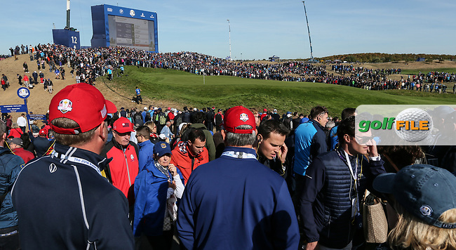 View of the 12th during Saturday's Fourballs, at the Ryder Cup, Le Golf National, Île-de-France, France. 29/09/2018.<br /> Picture David Lloyd / Golffile.ie<br /> <br /> All photo usage must carry mandatory copyright credit (© Golffile | David Lloyd)