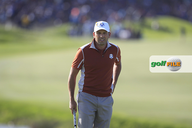 Sergio Garcia (Team Europe) on the 10th green during Saturday Foursomes at the Ryder Cup, Le Golf National, Ile-de-France, France. 29/09/2018.<br /> Picture Thos Caffrey / Golffile.ie<br /> <br /> All photo usage must carry mandatory copyright credit (© Golffile   Thos Caffrey)