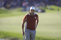 Sergio Garcia (Team Europe) on the 10th green during Saturday Foursomes at the Ryder Cup, Le Golf National, Ile-de-France, France. 29/09/2018.<br /> Picture Thos Caffrey / Golffile.ie<br /> <br /> All photo usage must carry mandatory copyright credit (© Golffile | Thos Caffrey)