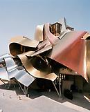 SPAIN, Frank Gehry, Elciego, La Rioja, Marques de Riscal Hotel facade.