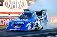 Sept. 2, 2011; Claremont, IN, USA: NHRA funny car driver Terry Haddock during qualifying for the US Nationals at Lucas Oil Raceway. Mandatory Credit: Mark J. Rebilas-