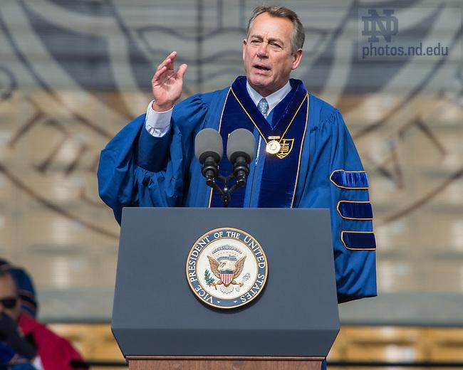 May 15, 2016; Latare Medal co-awardee John Boehner speaks during Commencement 2016. (Photo by Matt Cashore/University of Notre Dame)