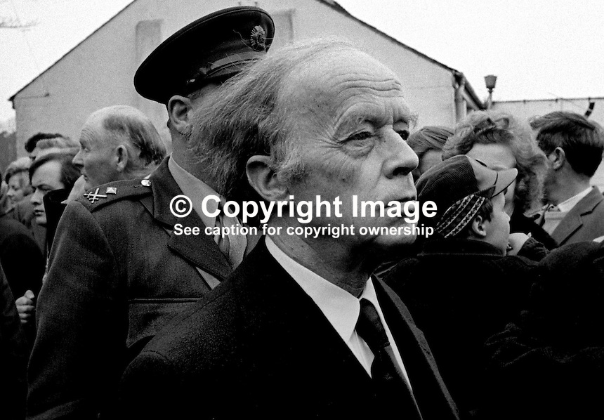 Funeral of Senator Billy Fox, 35 years, Protestant, Fine Gael politician, Co Monaghan, Rep of Ireland, 14th March 1974. He was previously a TD (Irish MP).  Fox was visiting the home near Clones of his fiancee which unknown to him had been taken over by thirteen armed paramilitaries. He ran from the scene but was followed and shot dead in a nearby field. Five members of the Provisional IRA were subsequently tried and convicted of the killing. Among the mourners at his funeral was the President of Ireland, Erskine Childers. 197403140164c.<br /> <br /> Copyright Image from Victor Patterson, 54 Dorchester Park, Belfast, UK, BT9 6RJ<br /> <br /> t1: +44 28 9066 1296<br /> t2: +44 28 9002 2446<br /> m: +44 7802 353836<br /> <br /> e1: victorpatterson@me.com<br /> e2: victorpatterson@gmail.com<br /> <br /> www.victorpatterson.com<br /> <br /> IMPORTANT: Please see my Terms and Conditions of Use at www.victorpatterson.com