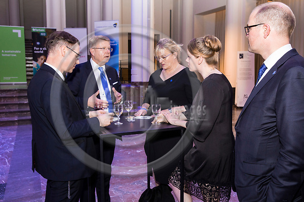 BRUSSELS - BELGIUM - 27 September 2017 -- Finland 100th Anniversary Reception and Concert of the Philharmonia Orchestra of London at the BOZAR. -- Timo Ranta, Ambassador of Finland to Belgium, Jyri Häkämies, CEO of Confederation of Finnish Industries with Pirkko Mattila, Minister of Social Affairs and Health of Finland. -- PHOTO: Juha ROININEN / EUP-IMAGES