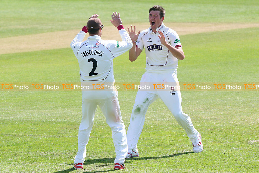 Jamie Overton of Somerset celebrates taking the wicket of Nick Browne during Somerset CCC vs Essex CCC, Specsavers County Championship Division 1 Cricket at The Cooper Associates County Ground on 16th April 2017