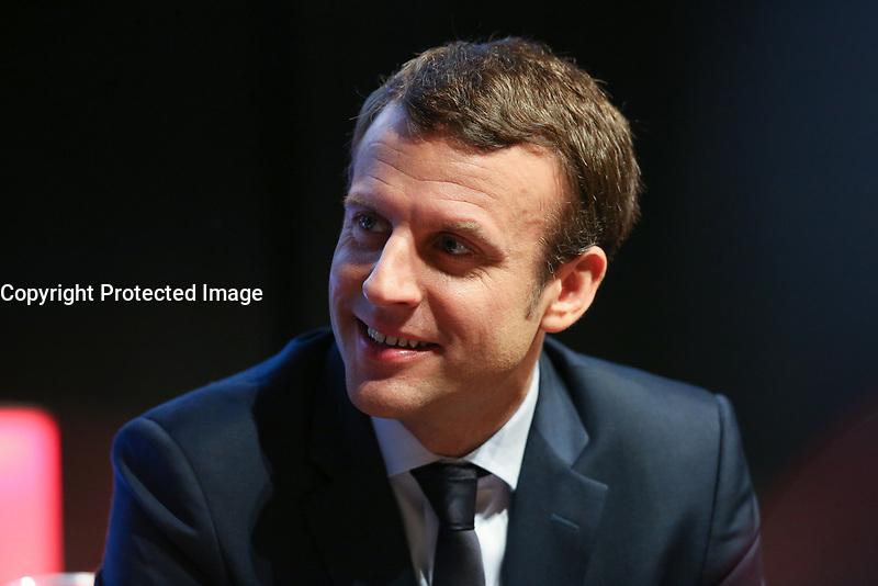 EMMANUEL MACRON, MEDEF LES MATINALES ENTREPRISES ET POLITIQUES DE LA PRESIDENTIELLE 2017 A L'ELYSEES BIARRITZ, PARIS, FRANCE, LE 28/03/2017.