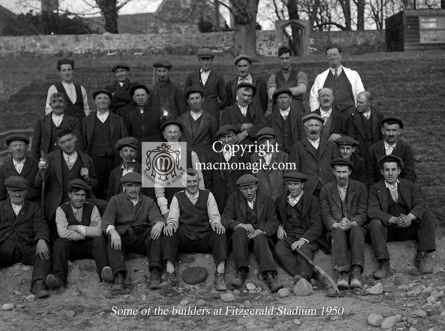 Workers who help complete the building of Fitzgerald Stadium Killarney in 1950..Photo by Daniel MacMonagle.from the MacMonagle, Killarney photo archive.www.macmonagle.com
