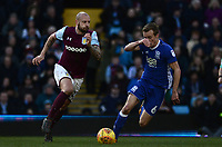 Alan Hutton of Aston Villa in action with Maikel Kieftenbeld of Birmingham during the Sky Bet Championship match between Aston Villa and Birmingham City at Villa Park, Birmingham, England on 11 February 2018. Photo by Bradley Collyer/PRiME Media Images.