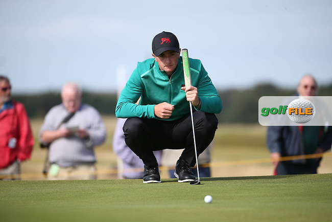 Battling for some form is Paul Dunne (IRL) during Sunday morning Foursome matches of The Walker Cup 2015 played at Royal Lytham and St Anne's, Lytham St Anne's, Lancashire, England. 13/09/2015. Picture: Golffile | David Lloyd<br /> <br /> All photos usage must carry mandatory copyright credit (&copy; Golffile | David Lloyd)