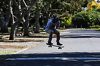 1st April 2020, Kohi Beach, Auckland, New Zealand; A youngster Skateboarding during the lockdown due to Covid-19. Kohimarama, Auckland, New Zealand on Wednesday 1 April 2020.