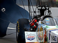 Aug. 3, 2013; Kent, WA, USA: NHRA top fuel dragster driver Brandon Bernstein during qualifying for the Northwest Nationals at Pacific Raceways. Mandatory Credit: Mark J. Rebilas-USA TODAY Sports