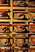 The upper chapel of the Yumbulagang fortress has a wall of Buddhist scriptures (sutra). In Buddhism, s?tra refers mostly to canonical scriptures, many of which are regarded as records of the oral teachings of Gautama Buddha.
